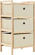 vidaXL Storage Rack Cedar Wood Beige with 3