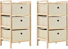 vidaXL Storage Racks 2 pcs Cedar Wood Beige with 3