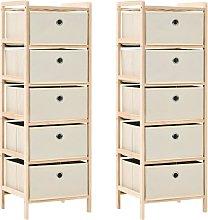 vidaXL Storage Racks 2 pcs Cedar Wood Beige with 5