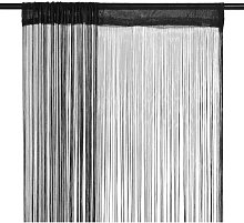 vidaXL String Curtains 2 pcs 140x250 cm Black -