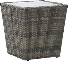vidaXL Tea Table Grey 41.5x41.5x43 cm Poly Rattan