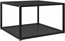 vidaXL Tea Table Tempered Glass Black 60x60x35 cm