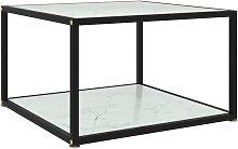 vidaXL Tea Table Tempered Glass White 60x60x35 cm