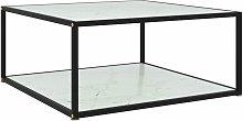 vidaXL Tea Table Tempered Glass White 80x80x35 cm
