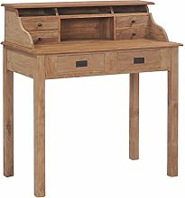 vidaXL Teak Solid Wood Desk with 6 Drawers