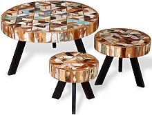 vidaXL Three Piece Coffee Table Set Solid