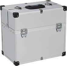 vidaXL Tool Case 38x22.5x34 cm Silver Aluminum