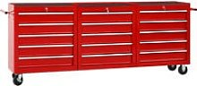 vidaXL Tool Trolley with 15 Drawers Steel Red