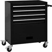 vidaXL Tool Trolley with 4 Drawers Steel Black -