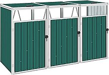 vidaXL Triple Garbage Bin Shed Outdoor Garden Tidy
