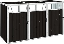 vidaXL Triple Garbage Bin Shed Sturdy Strong