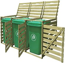 vidaXL Triple Wheelie Bin Shed 240 L Impregnated