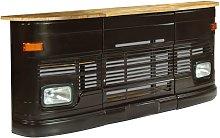 vidaXL Truck Bar Table Solid Mango Wood Dark Grey