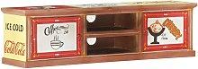 vidaXL TV Cabinet 130x30x36 cm Hand Painted Solid
