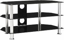 vidaXL TV Cabinet Black 75x40x40 cm Tempered Glass