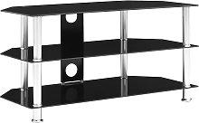 vidaXL TV Cabinet Black 96x46x50 cm Tempered Glass
