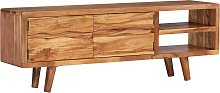 vidaXL TV Cabinet Solid Acacia Wood with Carved