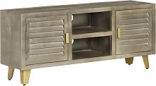 vidaXL TV Cabinet Solid Mango Wood Grey with Brass