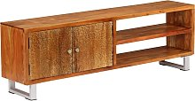 vidaXL TV Cabinet Solid Wood with Carved Doors
