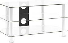 vidaXL TV Cabinet Transparent 75x40x40 cm Tempered