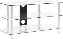vidaXL TV Cabinet Transparent 96x46x50 cm Tempered