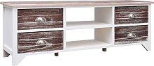 vidaXL TV Cabinet White and Brown 115x30x40 cm