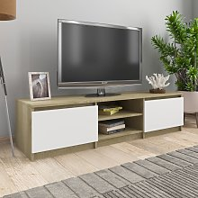 vidaXL TV Cabinet White and Sonoma Oak 140x40x35.5