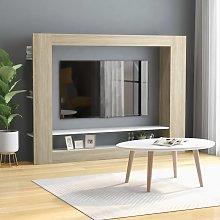 vidaXL TV Cabinet White and Sonoma Oak 152x22x113