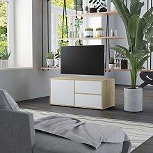 vidaXL TV Cabinet White and Sonoma Oak 80x34x36 cm