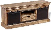 vidaXL TV Cabinet with 2 Sliding Doors Solid Mango