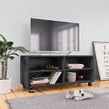 vidaXL TV Cabinet with Castors Grey 90x35x35 cm