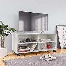 vidaXL TV Cabinet with Castors High Gloss White