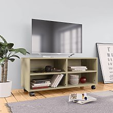vidaXL TV Cabinet with Castors Sonoma Oak 90x35x35