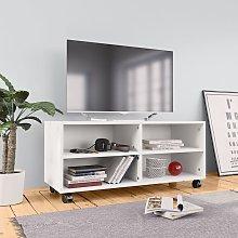 vidaXL TV Cabinet with Castors White 90x35x35 cm