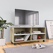 vidaXL TV Cabinet with Castors White and Sonoma