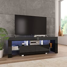 vidaXL TV Cabinet with LED Lights High Gloss Black