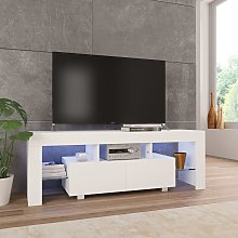 vidaXL TV Cabinet with LED Lights High Gloss White