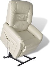 vidaXL TV Recliner Chair Beige Faux Leather