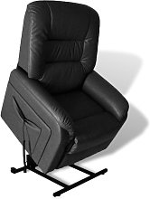 vidaXL TV Recliner Chair Black Faux Leather