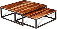 vidaXL Two Piece Nesting Coffee Table Set Solid