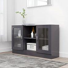 vidaXL Vitrine Cabinet High Gloss Grey 120x30.5x70