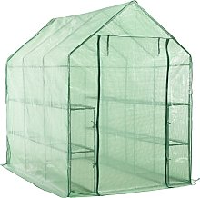 vidaXL Walk-in Greenhouse with 12 Shelves Steel