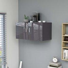 vidaXL Wall Mounted Cabinet High Gloss Grey