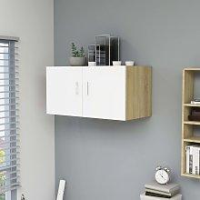 vidaXL Wall Mounted Cabinet White and Sonoma Oak