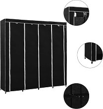 vidaXL Wardrobe with 4 Compartments Black