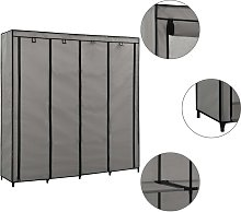 vidaXL Wardrobe with 4 Compartments Grey