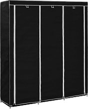 vidaXL Wardrobe with Compartments and Rods Black