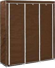 vidaXL Wardrobe with Compartments and Rods Brown