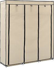 vidaXL Wardrobe with Compartments and Rods Cream