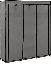 vidaXL Wardrobe with Compartments and Rods Grey